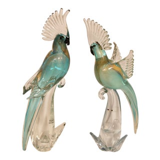 Large Mid 20th Century Italian Murano Turquoise and Gold Glass Cockatoo Parrot Sculptures - a Pair For Sale