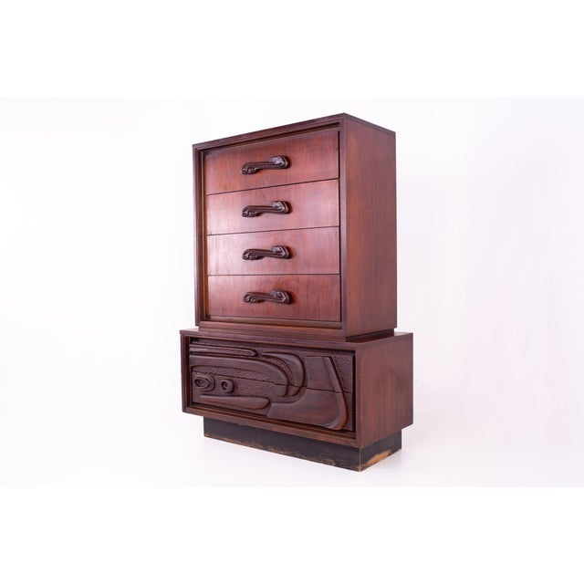 Mid-Century Modern Mid Century Witco Style Oceanic Brutalist 6 Drawer Gentlemans Chest For Sale - Image 3 of 11