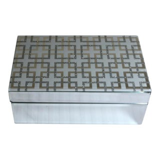 Abstract Mirrored Hinged Grecian Key Patterned Glass Decorative Box For Sale