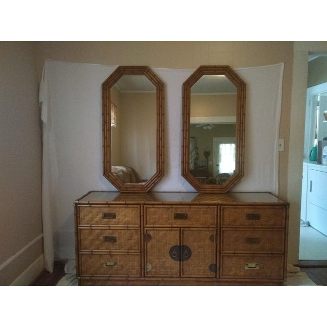 1960s Campaign Dixie Furniture Co Faux Bamboo & Woven Wicker Dresser and Mirror Set - 3 Pieces For Sale - Image 11 of 11