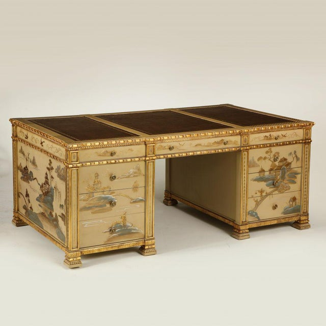 Chinoiserie Hand-Painted Parcel Gilt Partners Pedestal Desk For Sale - Image 12 of 12