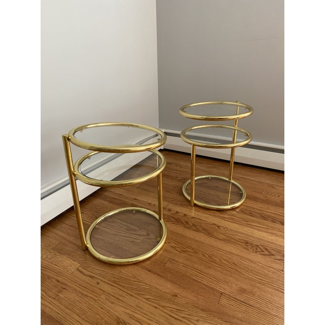 Hollywood Regency Brass and Glass Cocktail Tables - a Pair For Sale - Image 13 of 13