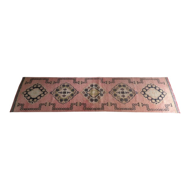 Vintage Turkish Oushak Pink Faded Tribal Boho Runner Rug 2'6'' X 9'7'' For Sale