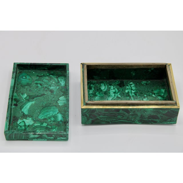 Green Extra Large Genuine Malachite Box For Sale - Image 8 of 12
