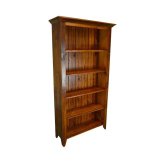 Rustic Custom Hand Crafted Pine Wood Tall Open Bookcase For Sale
