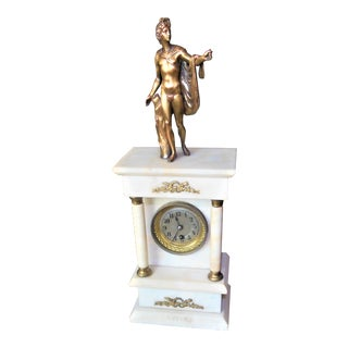 Antique Louise XVI Gilded Marble Clock For Sale