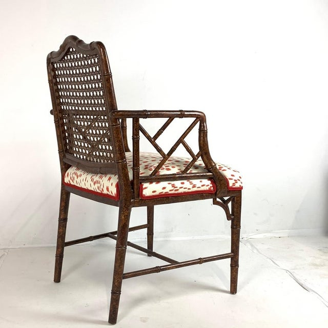 Set of 6 Upholstered Faux Bois Bamboo Chinese Chippendale Cane Dining Chairs For Sale - Image 10 of 13