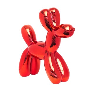 "Interior Illusions Plus Red Balloon Dog Bank - 12"" Tall For Sale"