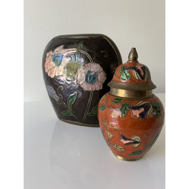 Metal Vintage Enameled Brass Vase & Jar - Pair For Sale - Image 7 of 9