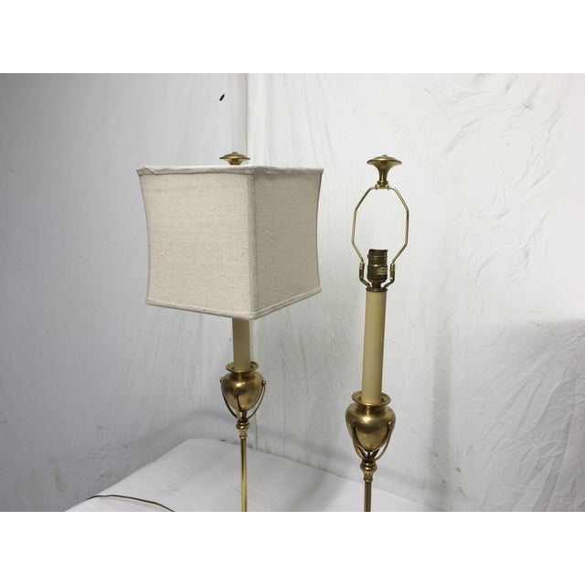 Metal Chapman Brass Modernist Style Lamps, a Pair For Sale - Image 7 of 10