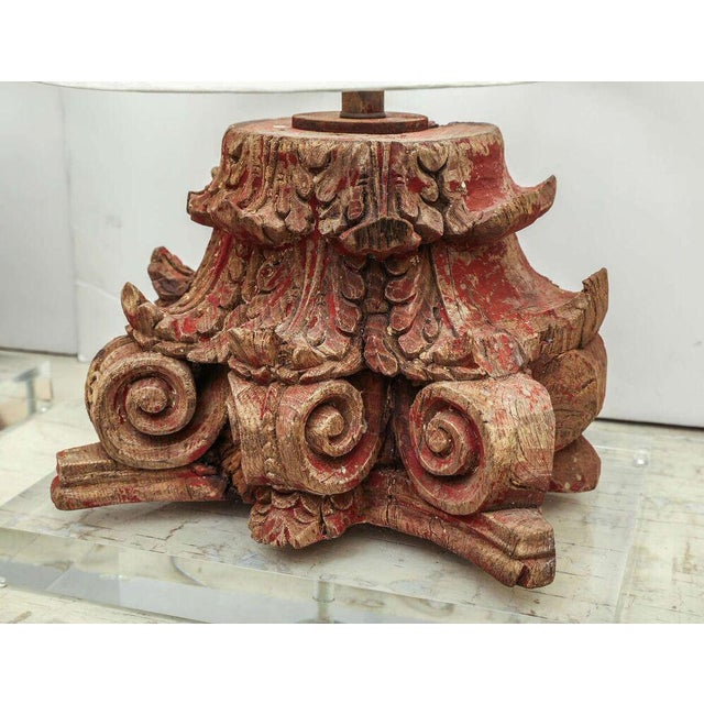 Lamp Fashioned From Carved Capital For Sale - Image 4 of 6