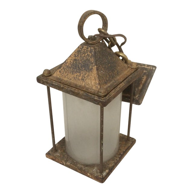Antique Hammered Texture Iron and Glass Lantern For Sale