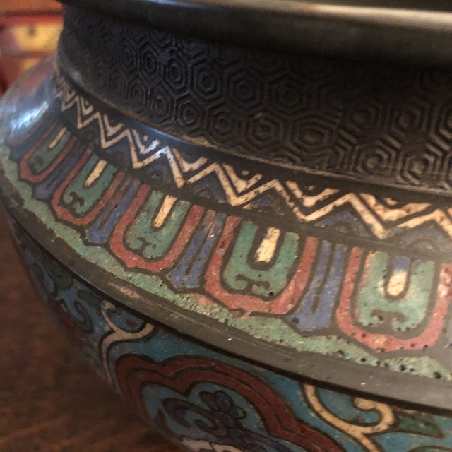 Antique Asian Large Bronze Cloisonne & Champleve Jardiniere With Taotie Design For Sale In Minneapolis - Image 6 of 13