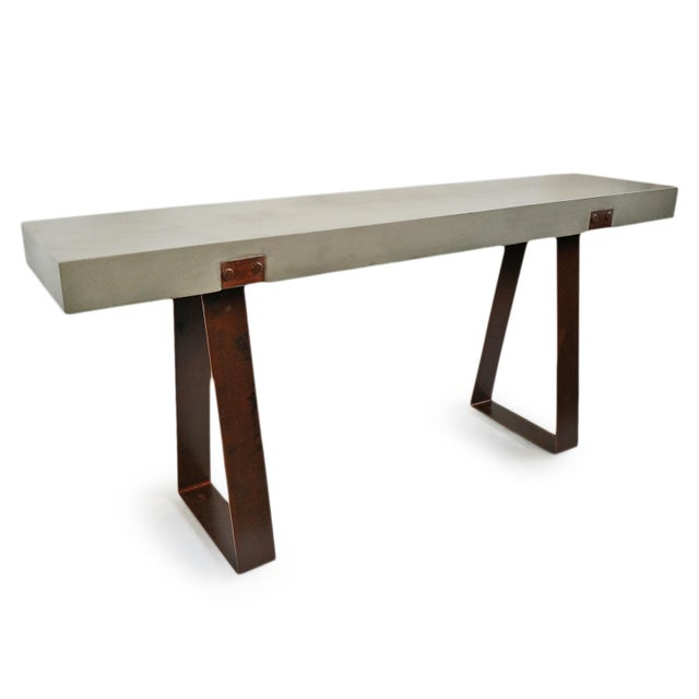 Modern Outdoor Cement & Iron Console For Sale - Image 3 of 9