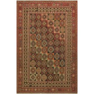 "Semi-Antique Soumakh Patrick Rust/Blue Wool Rug - 6'8"" X 9'11"" For Sale"