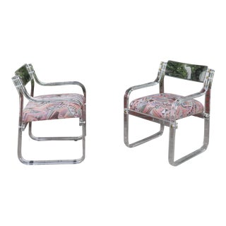 Lucite Pair of Arm Chairs For Sale