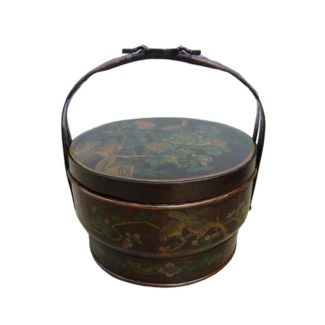 Chinese Bamboo Round Flower Wedding Basket For Sale - Image 4 of 5