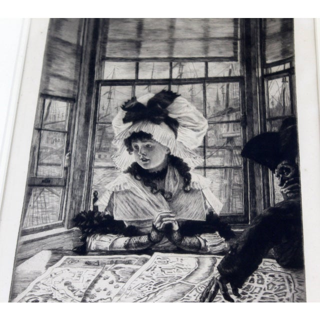 Vintage Antique James Tissot Histoire Ennuyeuse Etching Dated 1878 For Sale In Detroit - Image 6 of 9