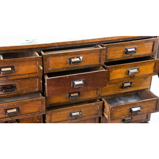 1920s Industrial Eighteen-Drawer Clerical Desk For Sale - Image 4 of 5