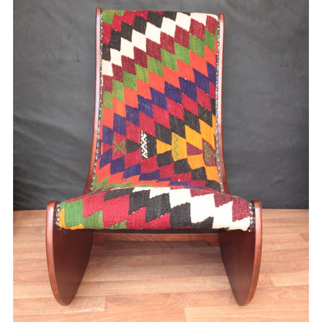 Red Boho Chic Wood Folding Rocking Chair For Sale - Image 8 of 10