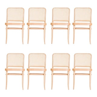 Josef Hoffmann Bentwood Caned Dining Chairs - Set of 8 For Sale