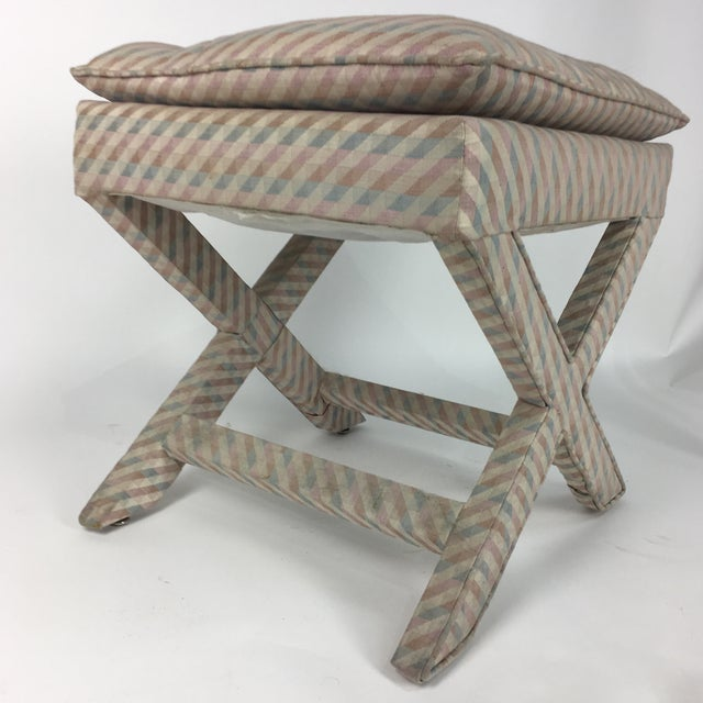 1970s Vintage Upholstered X Stool For Sale In Atlanta - Image 6 of 7