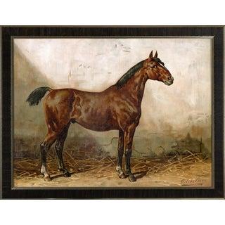 Holsteiner Horse by Eerelman Framed in Italian Wood Vener Moulding For Sale