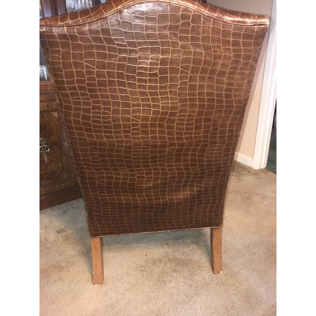 Mediterranean Ethan Allen Giles Leather Chair For Sale - Image 3 of 6