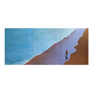 """""""Summer Wave"""" Large Geoff Greene Triptych Painting For Sale"""