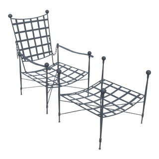 Mario Papperzini for Salterini Italian Wrought Iron Reclining Arm Chair and Ottoman For Sale