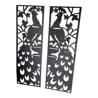 1980s Wooden Peacock Silhouettes - a Pair For Sale