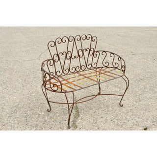 Late 20th Century Vintage Fancy Scrolling Wrought Iron Victorian Style Garden Patio Bench Loveseat Preview