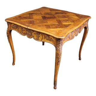 Henredon Louis XV Style Carved Fruitwood Parquetry Dining Table For Sale