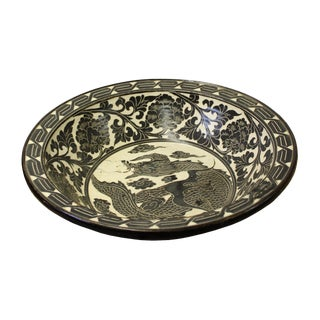 Chinese Cizhou Ware Ceramic Black Underglaze Dragon Round Bowl Plate For Sale