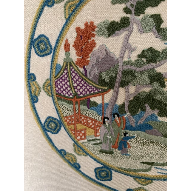 Vintage Chinoiserie Crewl Needlepoint Art Works - a Pair For Sale - Image 4 of 12