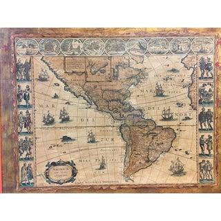 Antique Framed Reproduction of Blaeu's America Nova Tabula Map Preview