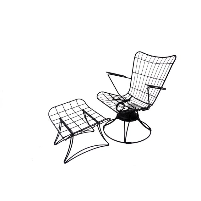 Homecrest Mid-Century Homecrest Metal Wire Patio Chairs & Ottoman    Indoor/Outdoor High Back Swivel Rocker Lounger Footstool Original Cushions Included For Sale - Image 4 of 10