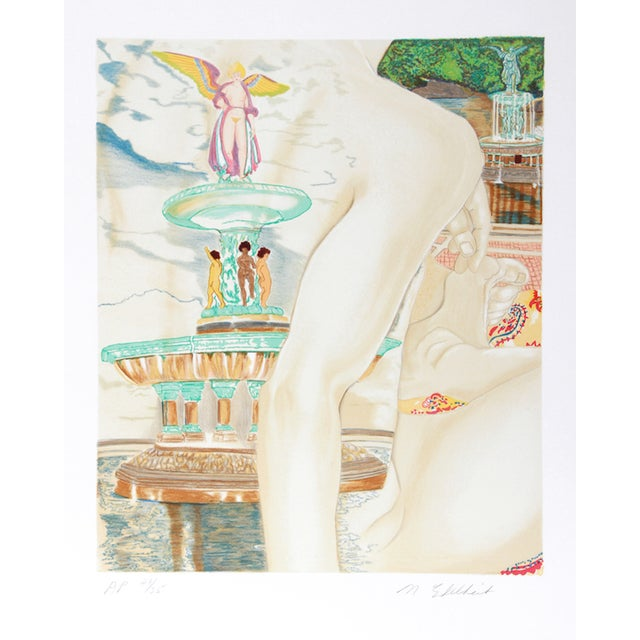 "Martha Edelheit, ""Bethesda Fountain,"" Lithograph - Image 1 of 2"