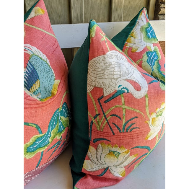 One decorative pillow cover featuring a botanical & bird scene on home decor weight fabric by Schumacher. For a custom...