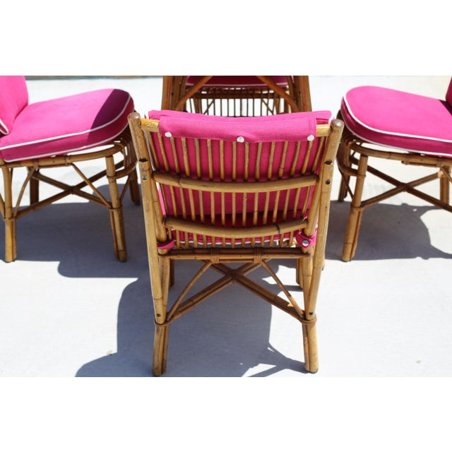 Vintage Ficks Reed Rattan Dining Table With 4 Chairs - Set of 5 For Sale In Tampa - Image 6 of 9