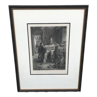 "Framed Black & White Etching ""Boys Kept In"" For Sale"