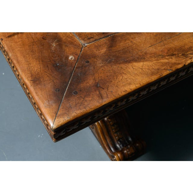 French Antique Hand Carved Oak Wood Trestle Library Table For Sale - Image 10 of 12