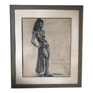 Vintage Charcoal Portrait of Woman For Sale