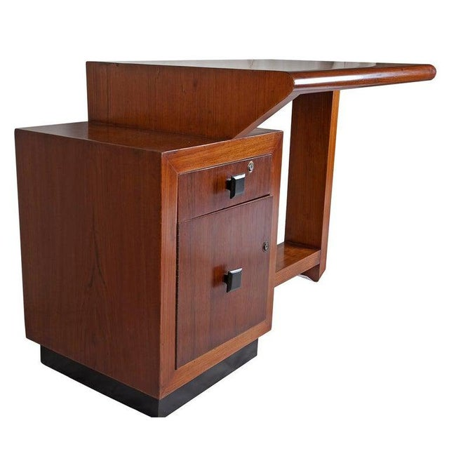 Art Deco Mid-Century Modern Teak Desk With Ebonized Accents For Sale - Image 3 of 10