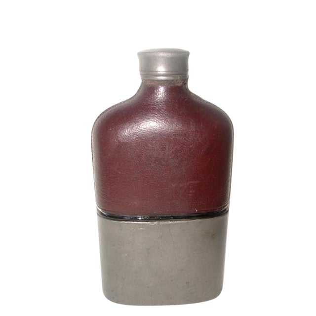 19th Century English Leather Flask For Sale