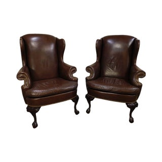 Hancock & Moore Chippendale Style Mahogany Ball & Claw Pair Brown Leather Wing Chairs For Sale