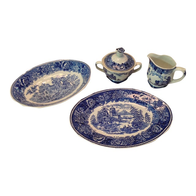 Arabia of Finland Landscape Blue Server Set - S/4 For Sale