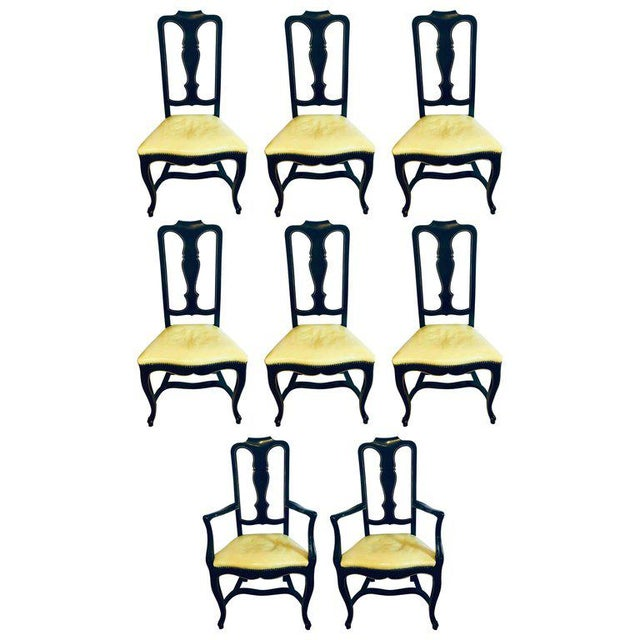 Set of Eight Queen Anne Ebonized and Gilt Decorated Dining Chairs For Sale - Image 13 of 13
