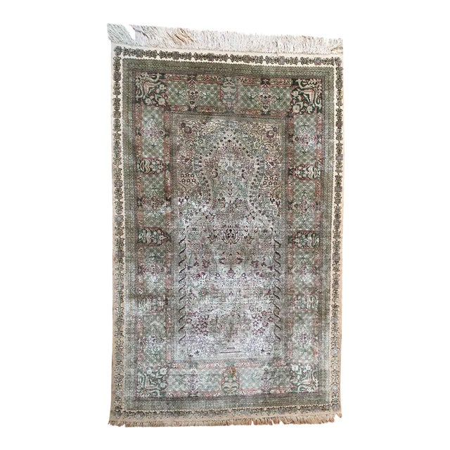 Silk Hereke Prayer Area Rug - 2′6″ × 4′ For Sale