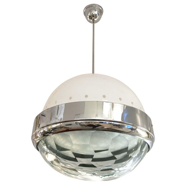 1960s Large Faceted Lens Pendant Attributed to Lumi, Italy, 1960s For Sale - Image 5 of 6
